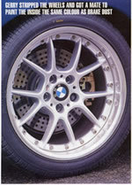 "Image of a wheel.  ""Gerry stripped the wheels and got a mate to paint the inside the same color as brake dust."""