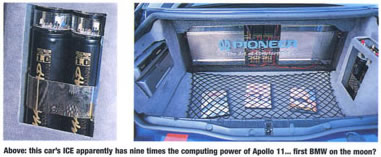 "trunk shot of audio equipment. ""This car's ICE apparently has nine times the computing power of Apollo 11 ... first BMW on the moon??"